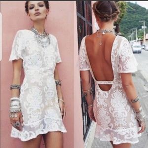 ❤🍋FL&L San Marcos Mini Ivory Lace Dress